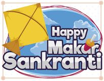Kite Flying during Makar Sankranti and Sign Decorated with Reel, Vector Illustration. Yellow kite flying in the sky during Makar Sankranti festival with sign vector illustration