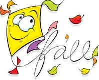 Yellow kite flying - vector illustration Royalty Free Stock Photo