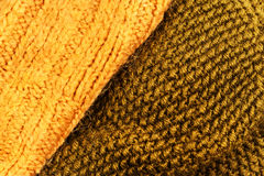 Yellow Knitted wool fabric texture background close up. Golden w Royalty Free Stock Photography