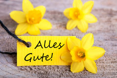 Yellow Label with Alles Gute Stock Images