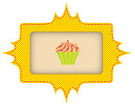 The yellow label for cake. Vector illustration Stock Photos