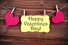 Yellow Label With Happy Valentines Day Royalty Free Stock Images