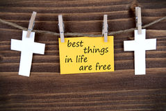 Yellow Label With Life Quote Best Things in Life Are Free Royalty Free Stock Images