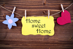 Yellow Label With Life Quote Home Sweet Home Stock Photography