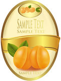 Yellow Label With Apricots. Royalty Free Stock Photo