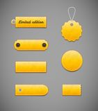 Yellow labels, price tags. Royalty Free Stock Image