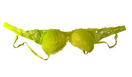 Lace brassiere isolated - yellow. Yellow lace brassiere isolated on white. Clipping Path included royalty free stock image