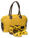Yellow Lady Bag And Yellow Sandals Stock Photography
