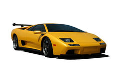 Yellow Lamborghini. A Yellow Lamborghini Diablo isolated on white. Clipping Path on vehicle. See my portfolio for more automotive images royalty free stock image