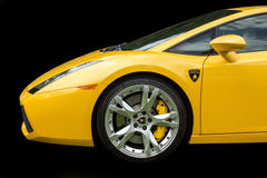 Yellow Lamborghini On Black Royalty Free Stock Image