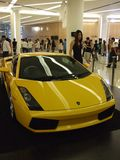 Yellow Lamborghini on display in Bangkok. Royalty Free Stock Images