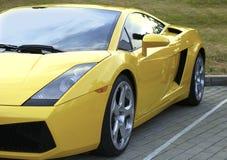 Yellow Lamborghini  on exhibition parking Royalty Free Stock Image