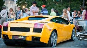 Yellow Lamborghini  on exhibition parking Stock Photo