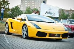 Yellow Lamborghini  on exhibition parking Stock Images