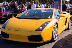 Yellow Lamborghini on exhibition parking at an annual event Supe Royalty Free Stock Images