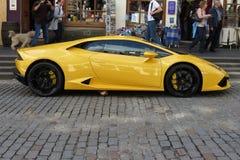 Yellow Lamborghini Gallardo Willimantic Stock Photo