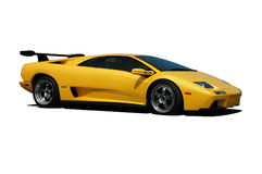 Yellow Lamborghini - Side View. A Yellow Lamborghini Super Car isolated on white. Clipping Path on vehicle. See my portfolio for more automotive images stock photos