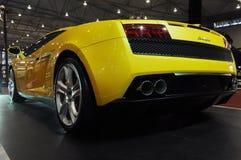 Yellow lamborghini sport car rear Stock Photos