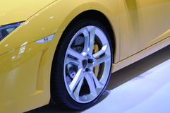 Yellow lamborghini sport car wheel Royalty Free Stock Images