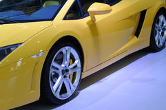 Yellow lamborghini sport car wheel Stock Photo