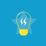 Yellow lamp bulb. A yellow lamp bulb on blue background stock illustration