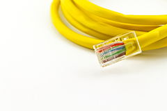 Yellow lan telecommunication cable Royalty Free Stock Photo