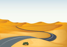 Yellow landscape and a road. Illustration of a yellow landscape and a road Royalty Free Stock Images