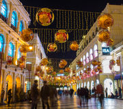 Yellow lanterns decoration Senado Square in macau Stock Image