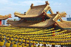 Yellow Lanterns Hanging on Temple Roof Royalty Free Stock Photography