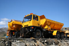 Yellow large trucks Stock Photo