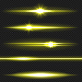 Yellow laser beams pack Royalty Free Stock Image