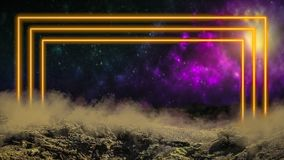 Yellow laser neon light portal gate over outer space background vector illustration