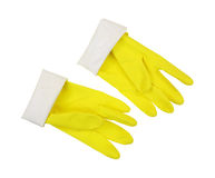 Yellow Latex Gloves Cuff Turned Down. A pair of sturdy yellow latex gloves, thumbs up, cuff turned down on a white background Stock Photo