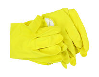 Yellow Latex Gloves Folded Stock Image