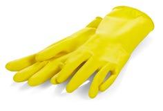 Yellow latex gloves Royalty Free Stock Photo