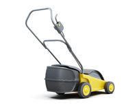 Yellow lawn mower isolated on a white background.  Stock Photography