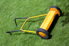 Yellow Lawnmower Stock Photo
