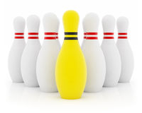 Yellow leader. Ten bowling pins on white background Stock Photo