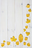 Yellow leafs on a white wooden background. graphic flat lay symb Stock Image