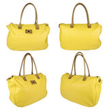 Yellow leather bag Stock Images