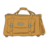 Yellow leather bag. Large yellow leather bag on rollers with big pocket on front  side drawn by hand Stock Image