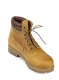 Yellow leather boots Stock Images