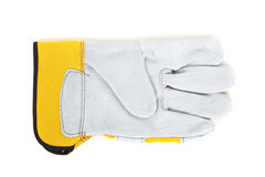 Yellow leather gloves Stock Photos