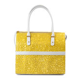 Yellow leather handbag with white handles isolated on white. Stock Photography