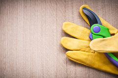 Yellow leather safety glove with secateurs on Stock Photography