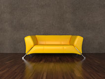 Yellow leather sofa Royalty Free Stock Photos
