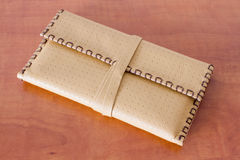 Yellow Leather Tobacco Pouch. Made of natural leather for storage of tabacco bags Stock Photo