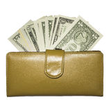 Yellow leather wallet with dollar bills Stock Photography