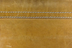Yellow leather with white stitches Royalty Free Stock Images