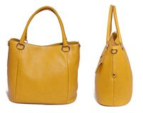 Yellow leather woman bag Royalty Free Stock Photos